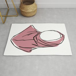 Hijab Woman 04, Single Line Art Colored Set Rug