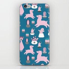 Alpaca fun teal iPhone Skin