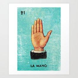 La Mano Mexican Loteria Bingo Card Art Print