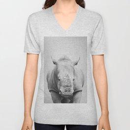Rhino 2 - Black & White Unisex V-Neck