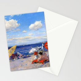 William Merritt Chase - At The Seaside - Digital Remastered Edition Stationery Cards