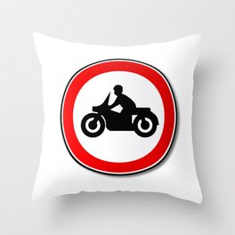 Motorcycle Round Traffic Sign Throw Pillow