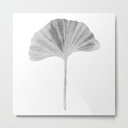 Grey Ginko Leaf - Minimalist Nature Metal Print