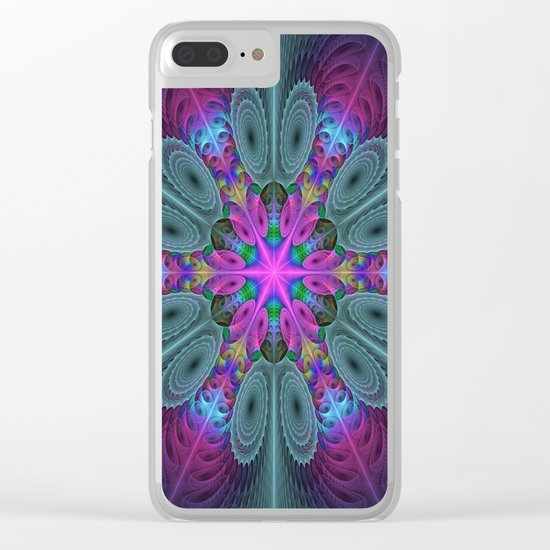 Mandala From the Center, Colorful Fractal Art Clear iPhone Case