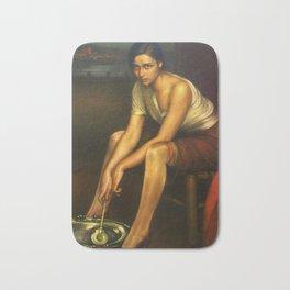 1930 Classical Masterpiece 'La Chiquita Piconera' by Julio Romero de Torres Bath Mat