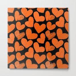 Sketchy hearts in orange and black Metal Print