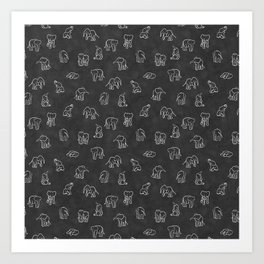 Indian Baby Elephants Blackout Art Print