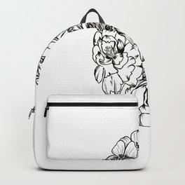 'Eggy' Floral Inkline Artwork -- BiotaDrawings Backpack