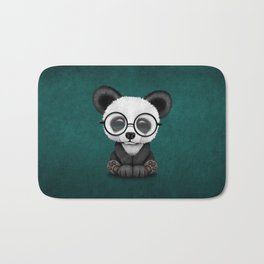 Cute Panda Bear Cub with Eye Glasses on Teal Blue Bath Mat