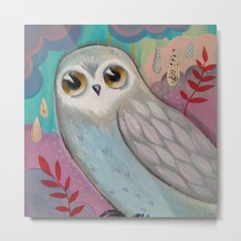 Winter Owl by cj metzger Metal Print