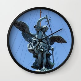 St Michael statue on top of Castel Sant'Angelo in Rome Wall Clock