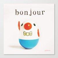 bonjour Canvas Prints featuring Bonjour! by giftedfools design studio