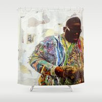 biggie smalls Shower Curtains featuring Biggie by Katy Hirschfeld