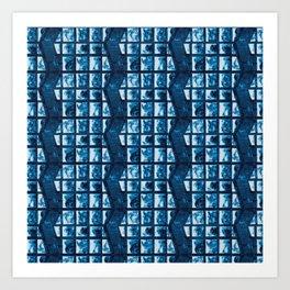 Cyanotype zig zag  Art Print