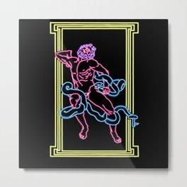 Snake Man Neon Metal Print