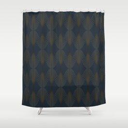 Art Deco Gold/Navy Pattern II Shower Curtain