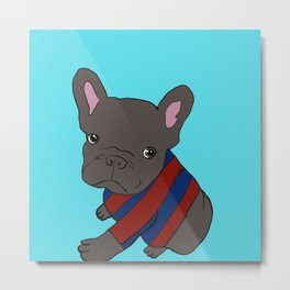 French Bull Dog Puppy in a Sweater Metal Print