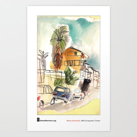 "Marina Grechanik, ""TelAviv Corner"" Art Print"