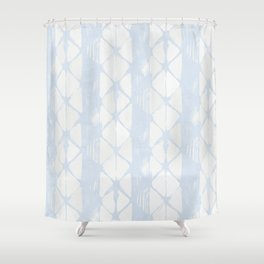 Simply Braided Chevron Sky Blue on Lunar Gray Shower Curtain