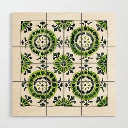 Green and White Circular Portuguese Tile Wood Wall Art