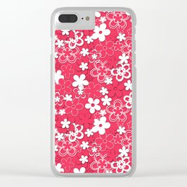 Red and white paper flowers 1 Clear iPhone Case