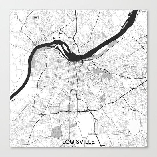 Louisville Map Gray Canvas Print
