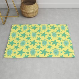 Water turtles, starfish cute marine tribal artistic artistic retro vintage pastel yellow pattern Rug