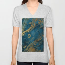 Fire & Ice Blue and gold marbling swirls Unisex V-Neck