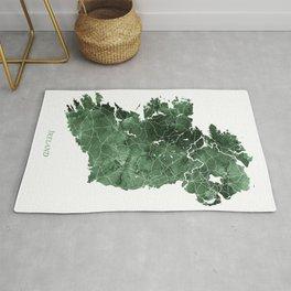 Ireland Map Green Watercolor by Zouzounio Art Rug