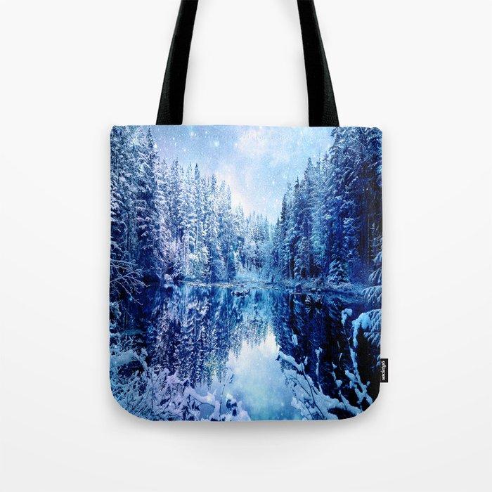 Blue Winter Wonderland : Forest Mirror Lake Tote Bag