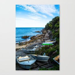 Gordons Bay boats by the shore Canvas Print