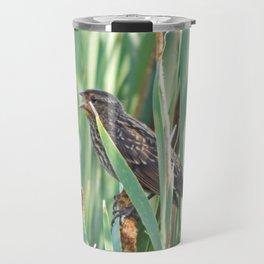 Cattails and the Bird Travel Mug