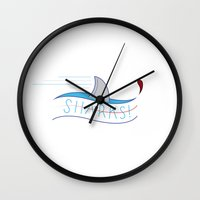 sharks Wall Clocks featuring Sharks! by Basik1 Design