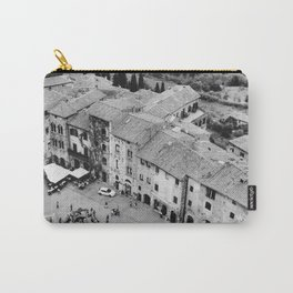 Italian streets | The square of San Gimignano, Italy | Analog photography black and white | Art Print Carry-All Pouch