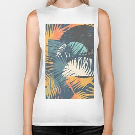 ABSTRACT TROPICAL SUNSET with palm leaves Biker Tank