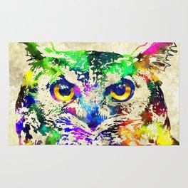 Owl Watercolor Grunge Rug
