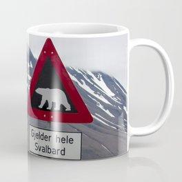 Polar bears traffic sign in Svalbard Coffee Mug