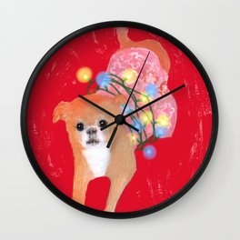 Dog in Pink Flower Dress Wall Clock