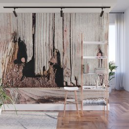 Eroded And Weathered Wooden Planks, Cracks And Chips Wall Mural