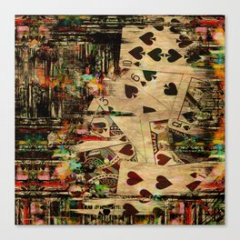 Abstract Vintage Playing cards  Digital Art Canvas Print