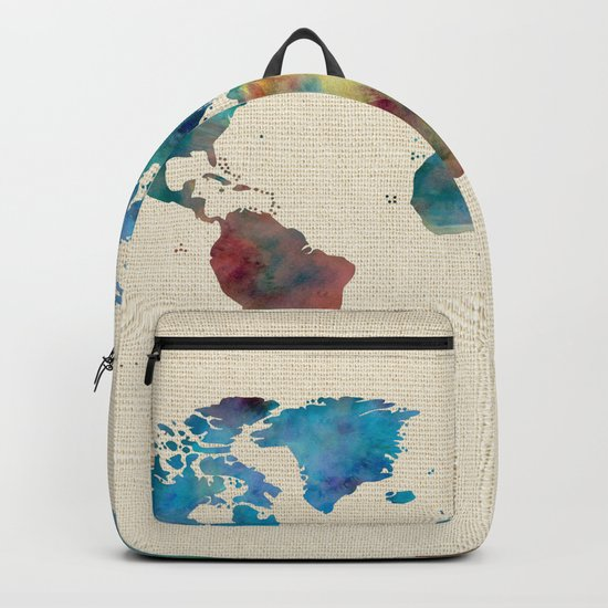 World Map Watercolor Linen Blue Red Yellow Green Backpack