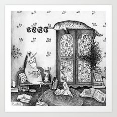 Unicorn house Art Print