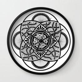 MANDALA BLACK AND WHITE Wall Clock