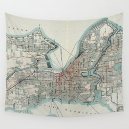 Vintage Map of Seattle Washington (1911) Wall Tapestry