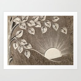 Sun and Tree Carved Stone Art Print