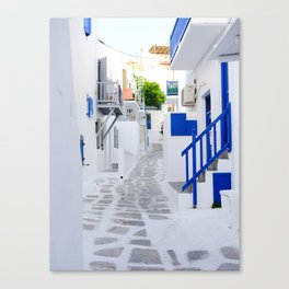 Beautiful Whitewashed Street Mykonos Greece Canvas Print
