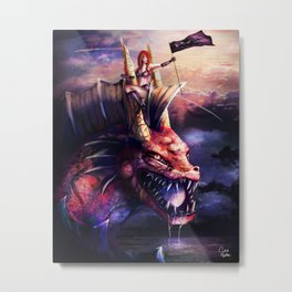 The Lady and the Water Dragon Metal Print