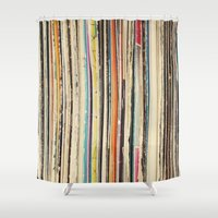 cassia beck Shower Curtains featuring Record Collection by Cassia Beck