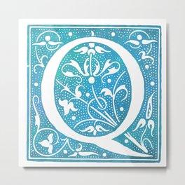 Letter Q Antique Floral Letterpress Monogram Metal Print