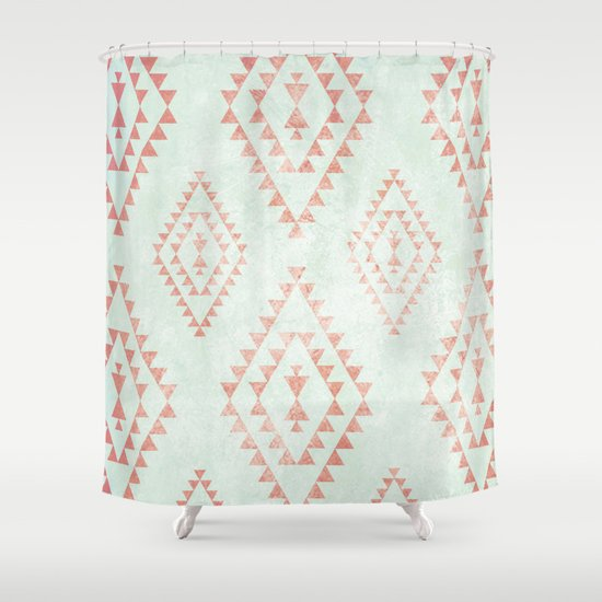 Mint Amp Coral Tribal Pattern Shower Curtain By Dani